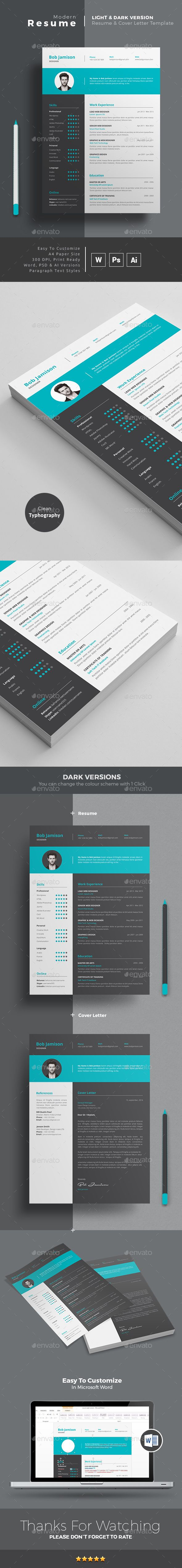 MS WORD CV Template | Resume Template + Cover Letter | PSD + AI Versions with color options. Download and Edit http://graphicriver.net/item/resume/14779867?ref=themedevisers