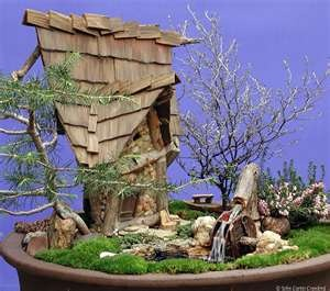 indoor fairy house with moss lawnGardens Ideas, Fairies Ponds, Fairies Woodland, Cottages Gardens, Water Features, Fairy Houses, Fairies Gardens, Fairies House, Miniatures Gardens
