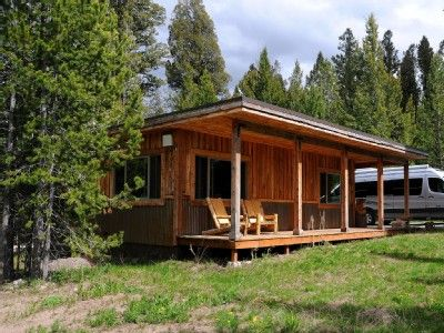 West Yellowstone cabin rental - Mini-Moose Cabin - Comfortable front porch with Adirondack chairs!