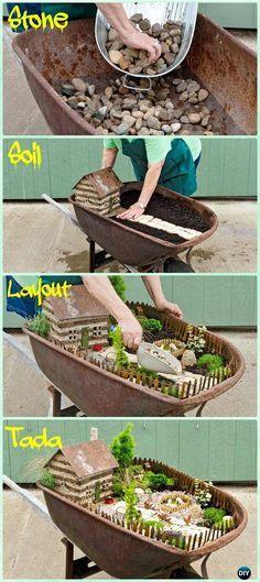 DIY Wheel barrow Fairy Garden Instruction - DIY WheelBarrow Miniature #Garden Projects