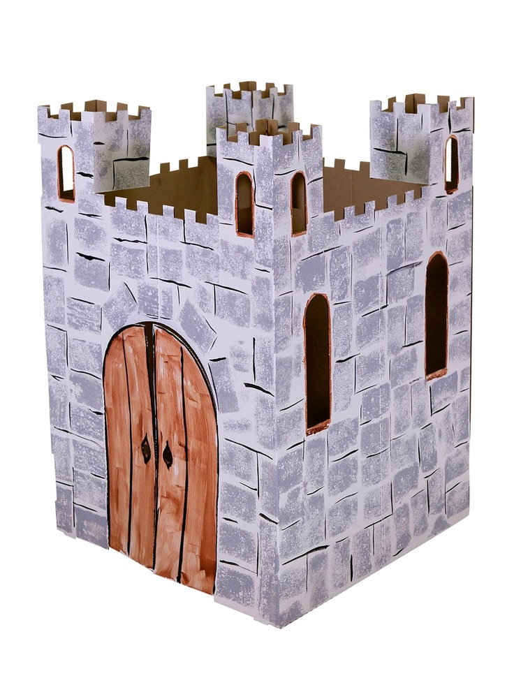 How to make a cardboard castle playhouse woodworking for Castle made out of cardboard boxes