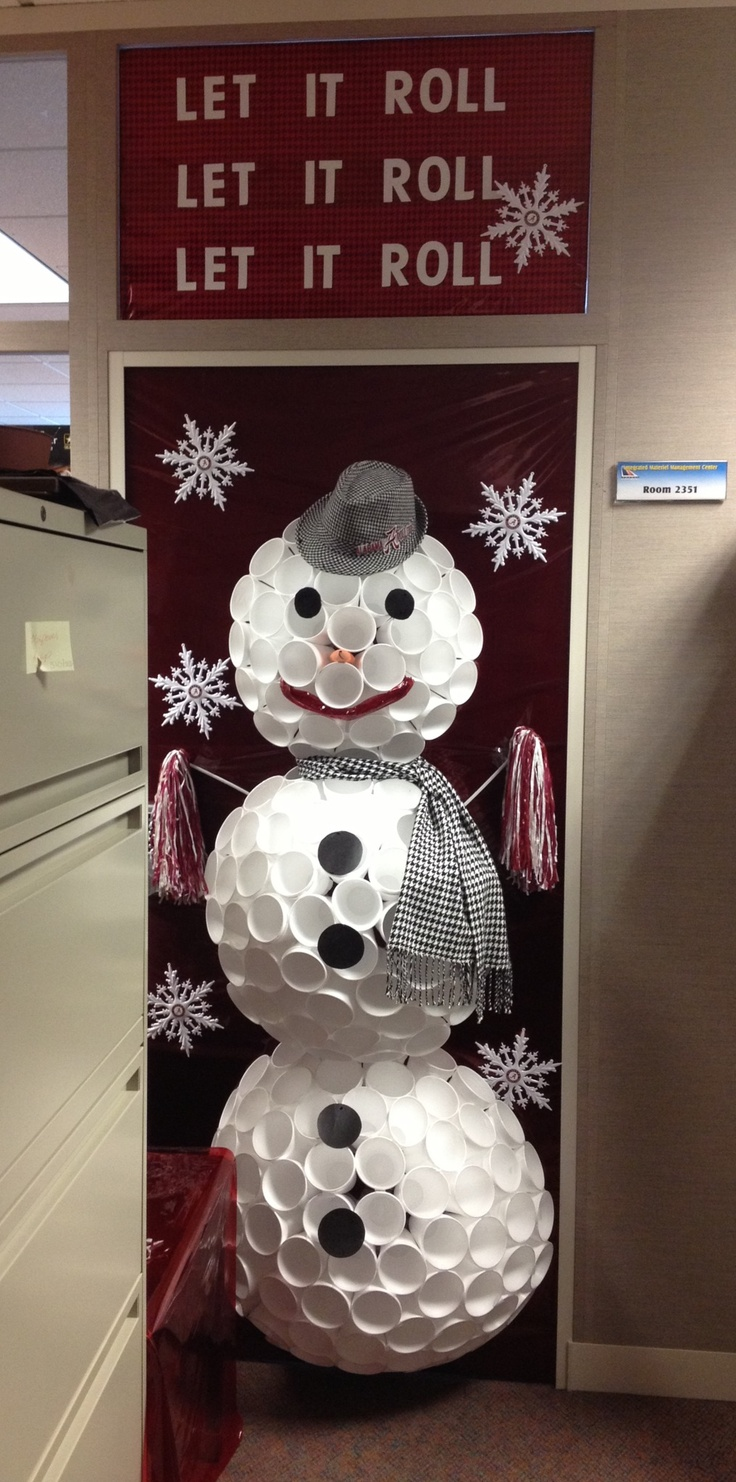 Our office door we decorated for Christmas. It's a Bama snowman made out of paper cups.