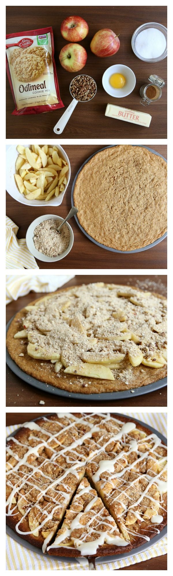 Apple Crisp and oatmeal cookie mix combined into a wonderful Apple Crisp Cookie Pizza!