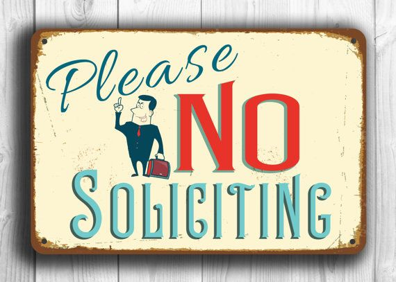 No Soliciting Sign Vintage style Aluminum by ClassicMetalSigns