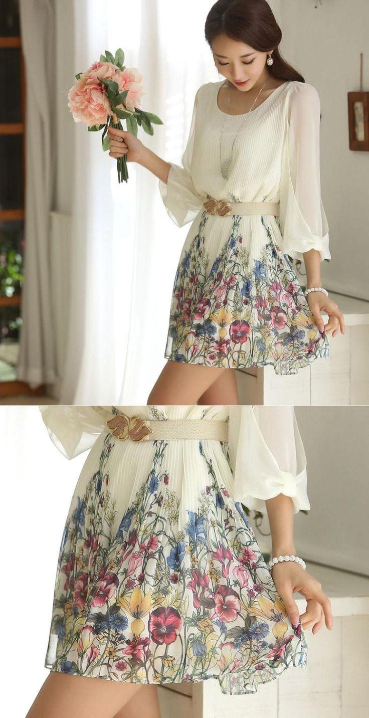 Vestido blanco mujer koreana