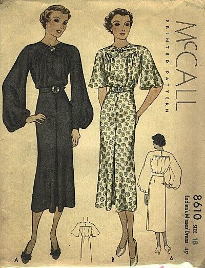 Vintage 1930s dress pattern