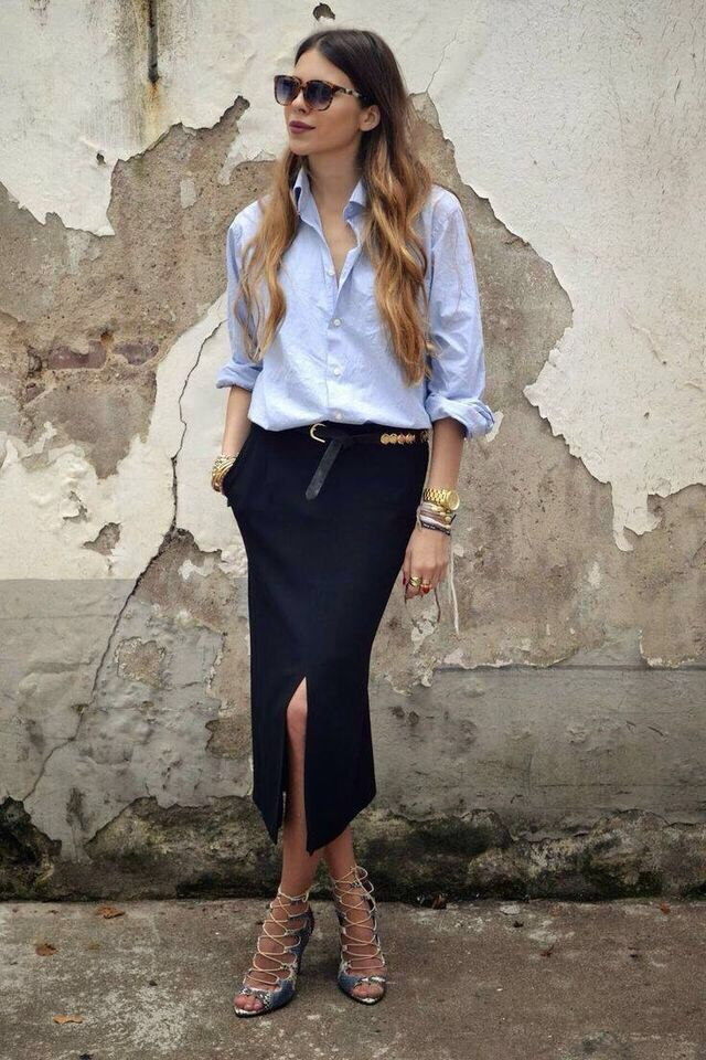 Love this classic look for work. Long pencil skirt with slit and men's button down shirt with sandals