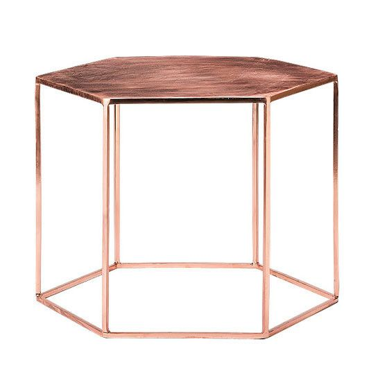 Copper hexagon table by Holly's House http://www.hollys-house.com/collections/side-tables/products/copper-plated-hexagonal-table