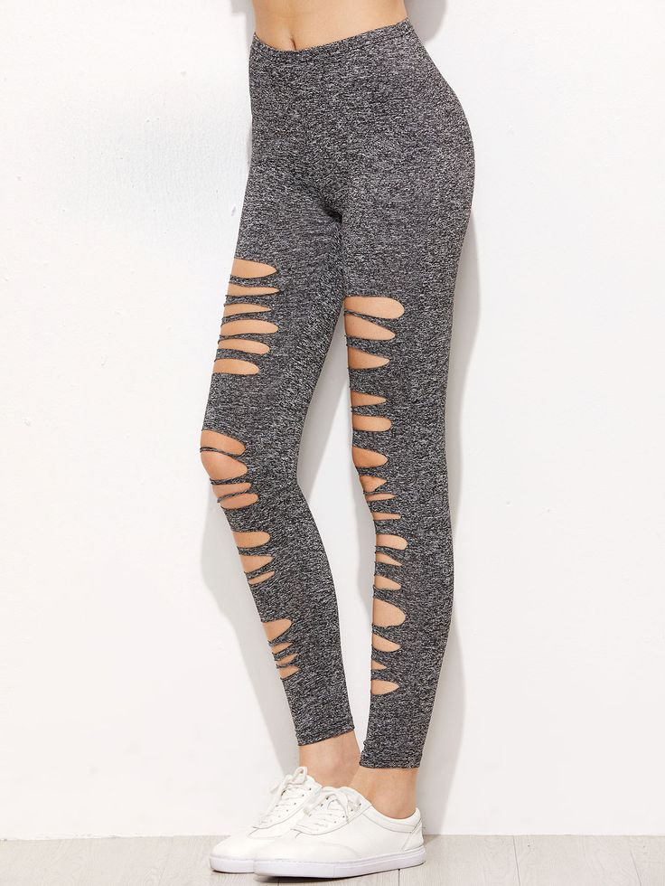 Shop Grey Marled Knit Ripped Leggings online. SheIn offers Grey Marled Knit Ripped Leggings & more to fit your fashionable needs.