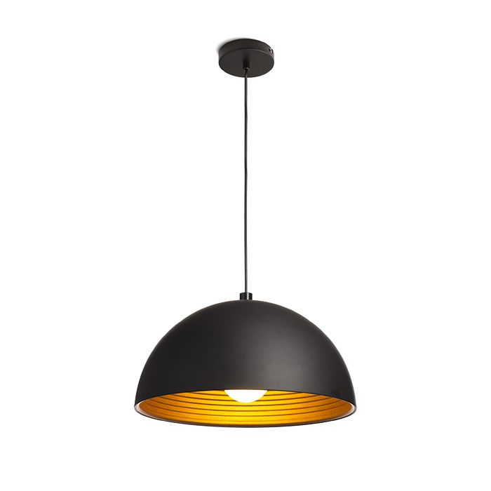 CARISSIMA 40 | rendl light studio | Pendant with a black lacquered metal shade. The inside reflector is gold colored. #lights #design #pendant