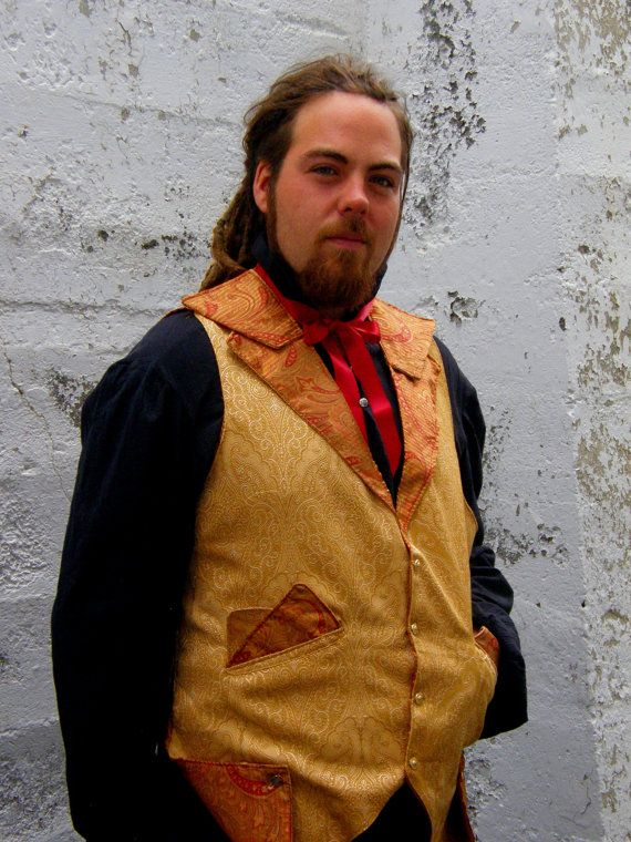 Large, Gold & Orange Paisley Steam Punk Men's Vest