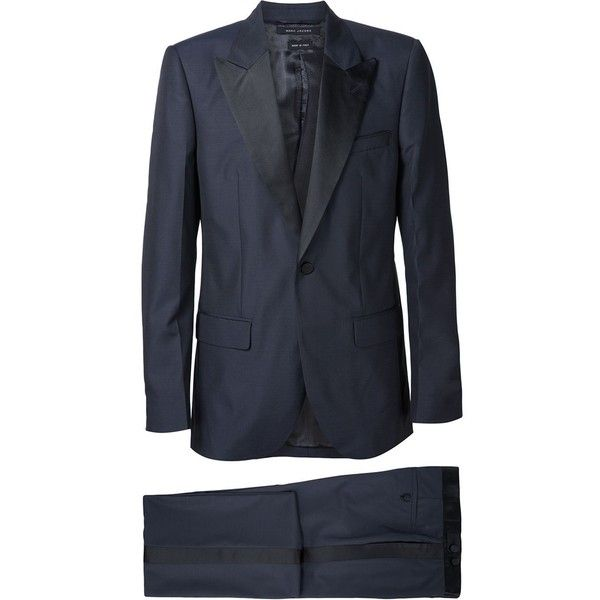 Marc Jacobs Contrast Lapel Tuxedo Suit ($3,080) ❤ liked on Polyvore featuring men's fashion, men's clothing, men's suits, blue, mens peak lapel suits, mens striped suit, mens blue suit and mens tuxedo suits