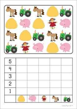 11 Math Centers - Farm {Pre-k & Kindergarten} 111 pages in total. Lots of hands on games and activities to make learning FUN! A page from the unit: Count and graph.