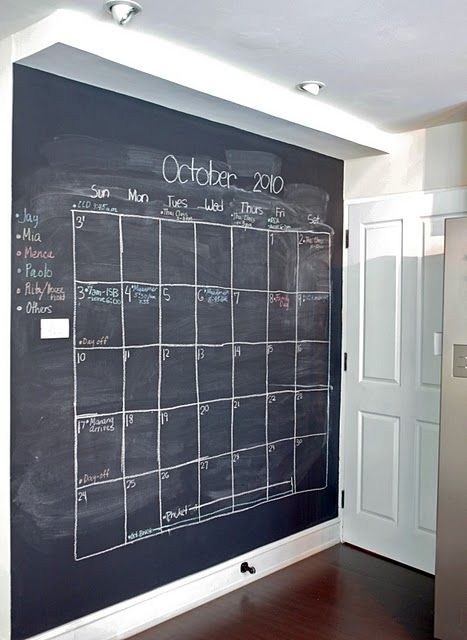"""organize that family sked with a """"A Clever Black Wall"""" Again where can I get blackboard paint?!?"""