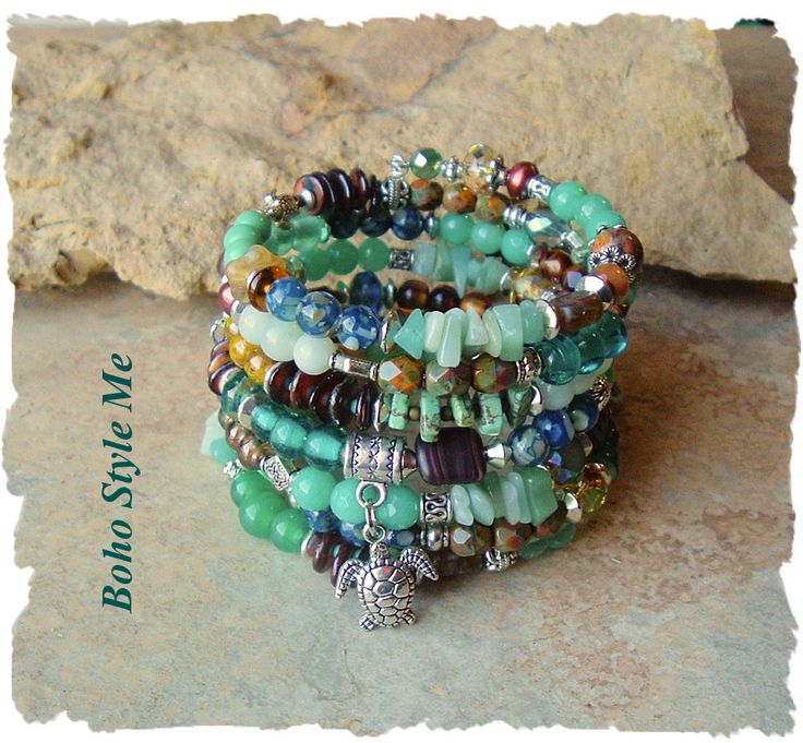 Sea Turtle Bracelet, Boho Layered Wrap Bracelet, Deep Ocean Colors, Handmade Bohemian Jewelry, Boho Style Me, Kaye Kraus by BohoStyleMe on Etsy