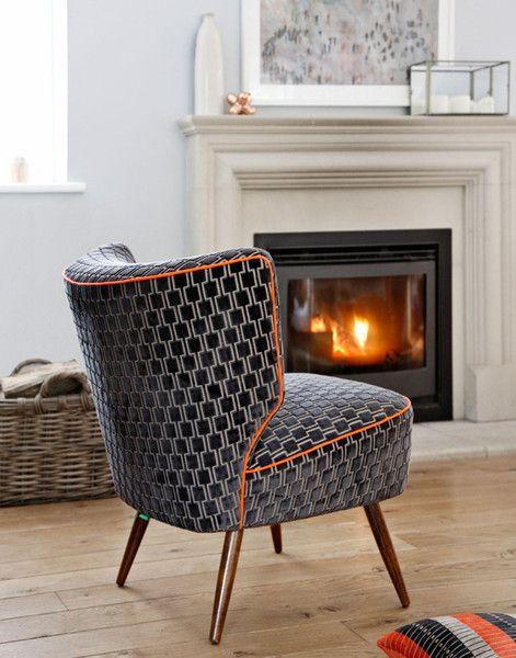 "An original, vintage 1950's Bartolomew cocktail chair re-upholstered in Kirkby Designs classic ""Bakerloo"" velvet from their Underground range."
