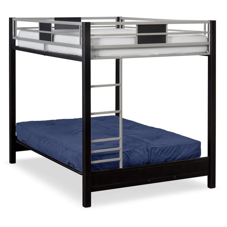 Industrial Showpiece. The Samba Full over Full bunk bed with blue futon mattress adds innovative versatility to your child's bedroom with multiple options for sleeping and lounging. The futon sofa creates an especially appealing hangout spot for your kids.  The space-saving bed design maximizes a room's layout, and sturdy industrial-strength steel keeps safety top of mind. Only one futon mattress is included.