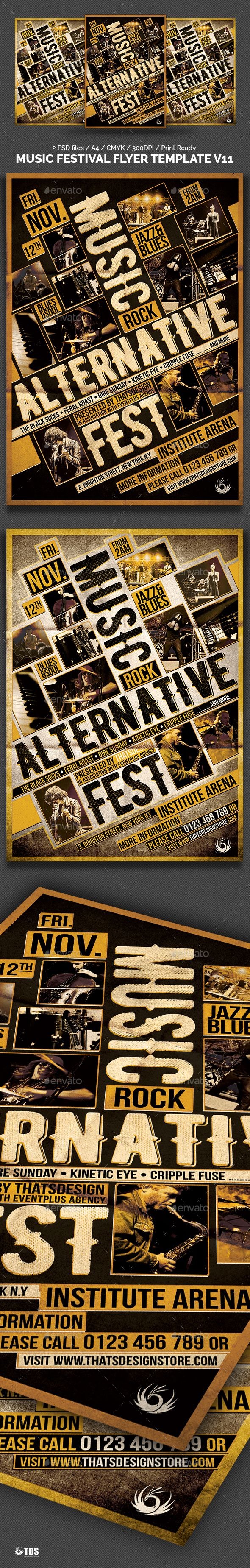 Music Festival Flyer Template V11 by lou606 2 Photoshop .psd fileA4 size (21Ã…