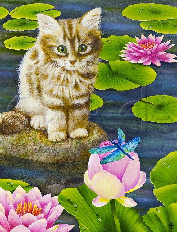 """Lámina Carolyn Steele, nenúfares, nenúfar, libélula, lindo gatito atigrado: """"Estanque de Lily"""""""