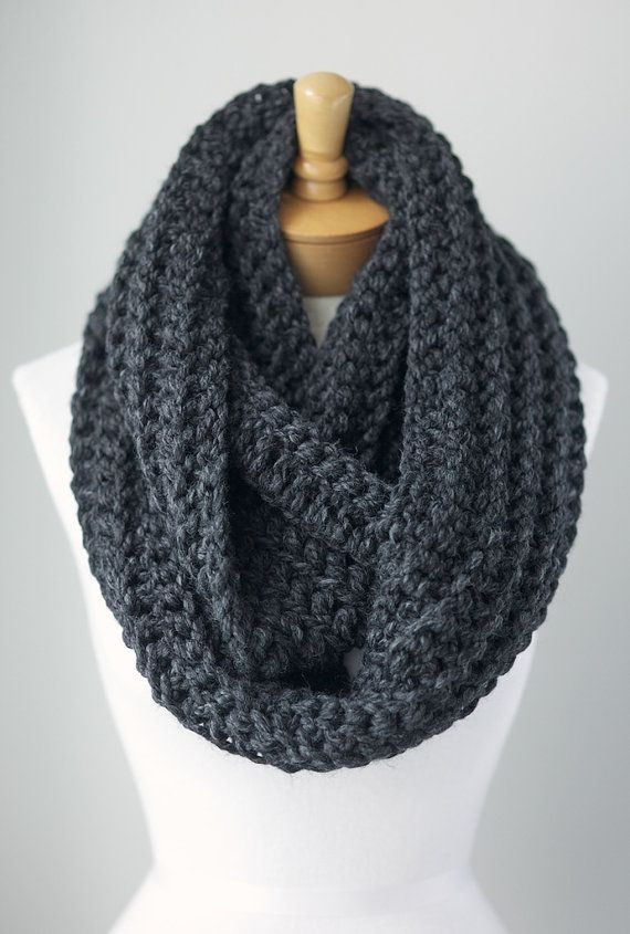 DANI WANTS IN GREY OR MUSTARD Chunky gray infinity scarf, grey heather eternity scarf, extra long infinity scarves, slim scarf, unisex scarved on Etsy, $44.00