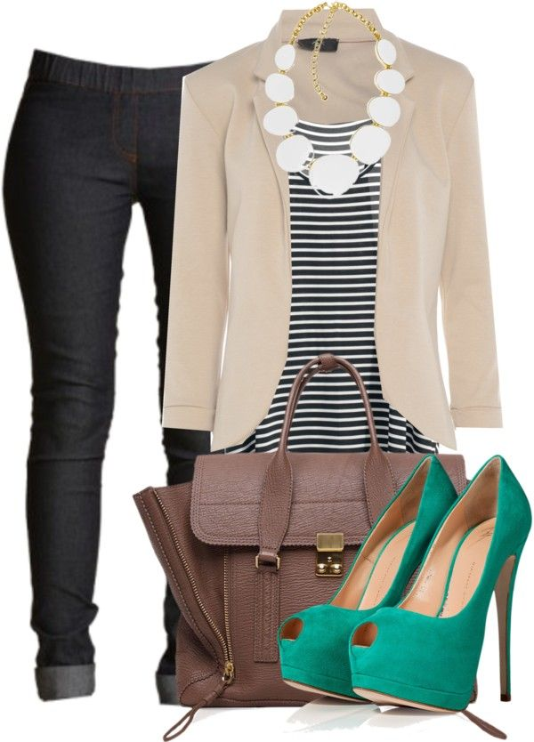 Dark skinnies, tan blazer,white statement necklace, brown bag,black and white striped top, and pop of color teal peep toes !