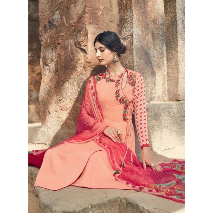 Peach Cotton Indian #Churidar Kameez With Dupatta- $43.96