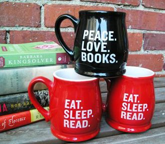 Love the red one! Found it here: http://www.malaprops.com/malaprop%27s%20coffe%20mug/eat-sleep-read