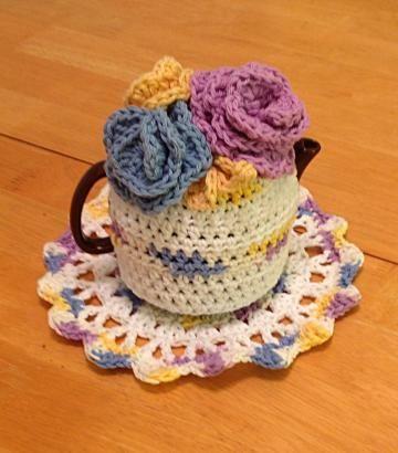 Tea cozy, crochet tea cozy set, tea pot cozy, #floralteacozy by #OnceUponARoll for $24.00 #TeamZibbet