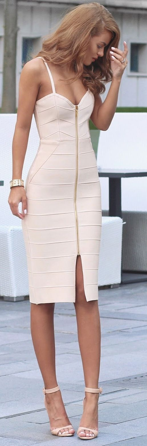 Nude Strappy Body-con Little Dress by Nada Adellè