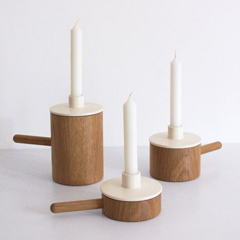 stylish designed french candle holders with removable ceramic lids that allows small objects to be stored in the base !