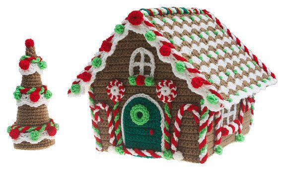 Kerst peperkoek Cottage haak pdf patroon van gourmetcrochet op Etsy