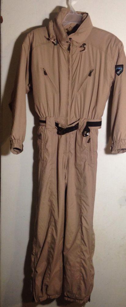 Womens Obermeyer petite Tan Brown one piece Ski Suit Size 10 #Obermeyer
