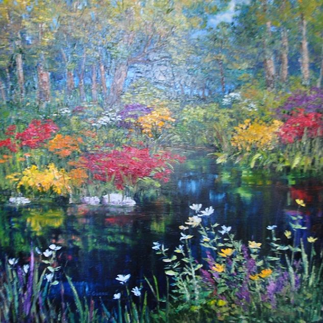 "'Garden Pond"" (2014) Jan Guess Oil on Canvas 47""w x 47""h, Framed.   Available through Filsinger Fine Art, Palm Desert, CA  SOLD"