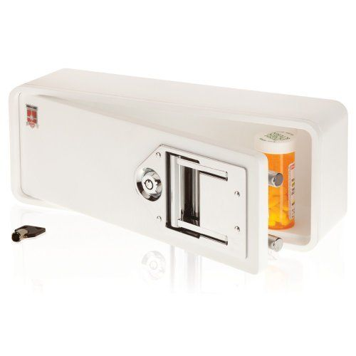"Medicine Safe MS-1 Safe, White by Medicine Safe. $69.99. From the Manufacturer                The Medicine Safe is an attractive, ergonomically designed safe with steel reinforced composite body construction engineered to keep prescriptions and over the counter medications organized and secure. Accommodating prescription bottles of up to 4"" tall, the Medicine Safe keeps medicine secure with its patent pending locking mechanism that deploys two steel ""double throw"" locking ..."