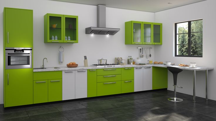Green modular kitchen designs straight kitchen designs pinterest green kitchen designs Modular kitchen design and cost