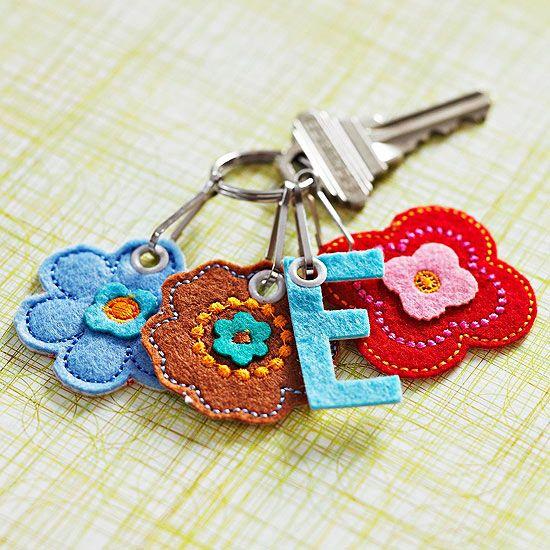 Flowery Felt Key Chain