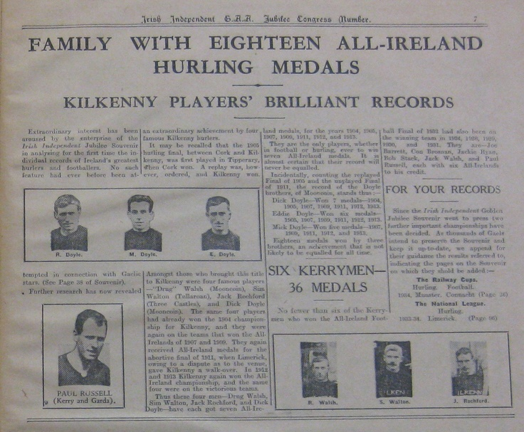 The three Doyle Brothers, who between them won eighteen All-Ireland medals.  (Source: Irish Independent Jubilee Supplement, 1934)