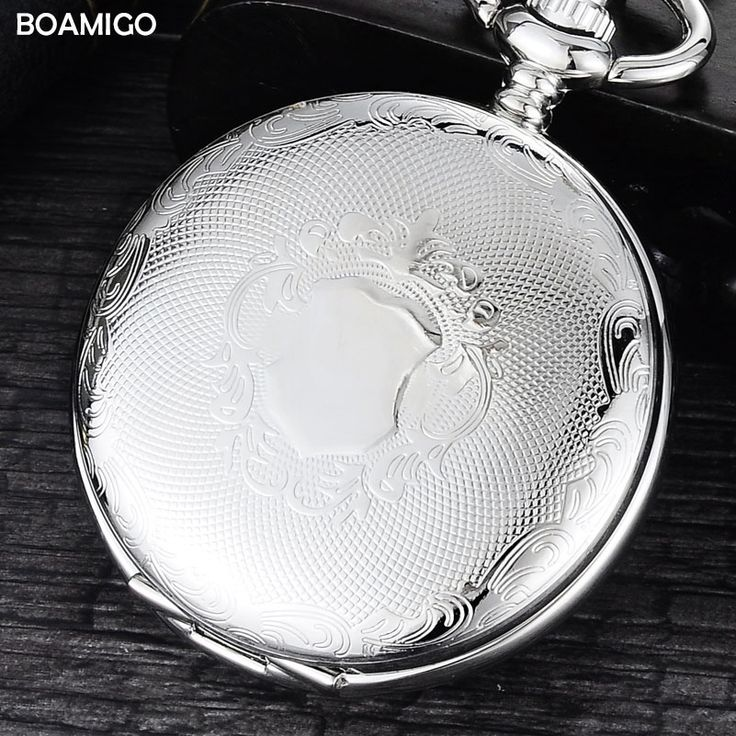 12.99$  Buy here - FOB men pocket watches luxury mechanical watch BOAMIGO brand skeleton roman number watches silver chain gift clock reloj hombre  #shopstyle