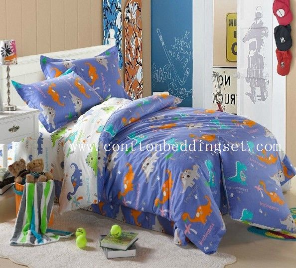 blue dinosaur dovet cover quilt cover single double kids bedding sets with twin size,full size,or queen size.