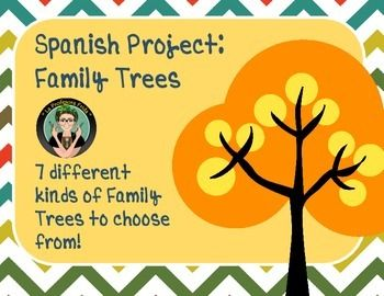 "Family Tree Project for your Spanish Students!  Learning family vocabulary is a must for all beginning level Spanish courses, but making a family tree doesn't have to be boring!This packet has the ""standard family tree"" to show your students the flow a family tree should take.Then there are 7 creative examples of how to make a family ""tree"" to help your students see that a family tree doesn't have to be in the shape of a tree!All of the family trees are printable and can be used as…"