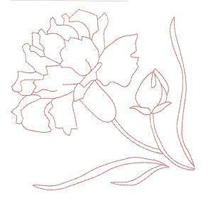 Redwork Carnation Machine Embroidery Design