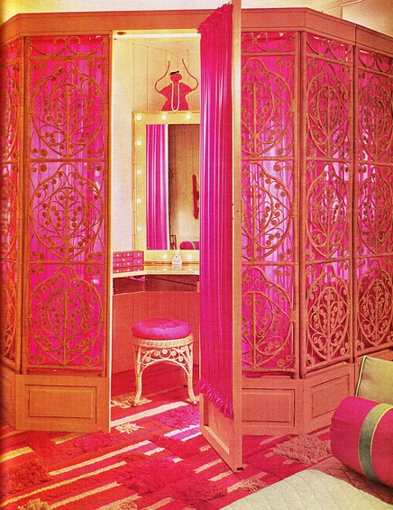 private dressing room, 1968.Hello fabulous♥♥♥♥ // Quite a pretty room divider , & it reminds me of my daughter Dor.....I call her my Lil' Miss Sunshine, & she was born in 1968 just like it says on this pin..... So I just had to add it as my cover picture for my board on room dividers!!!!!
