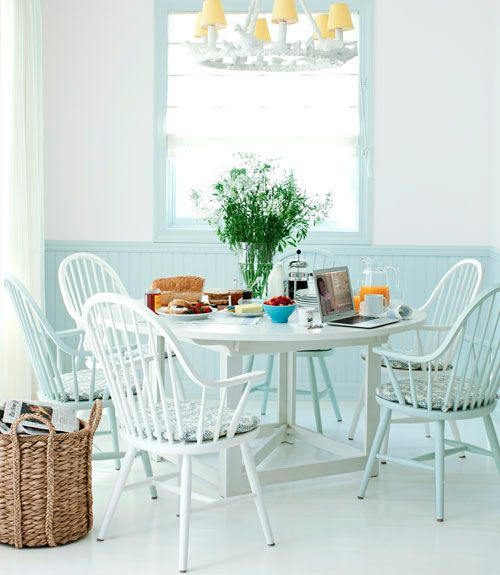 Dining Room, Blue, Colors, Kitchens Tables, Painting Floors, Design Kitchens, Modern Kitchens, Windsor Chairs, White Wall