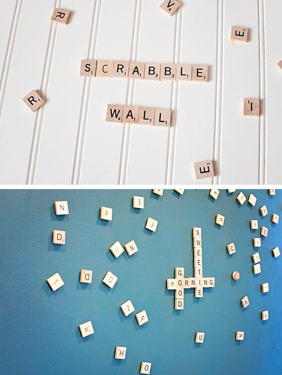 DIY magnetic paint scrabble wall by A Subtle Revelry