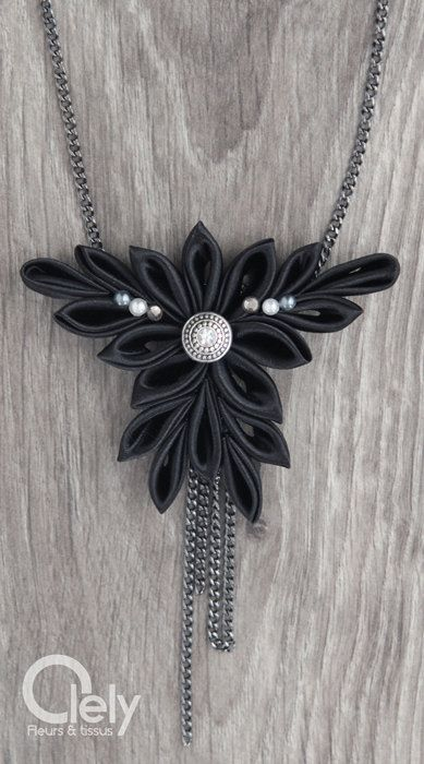 Black fabric necklace with rhinestone: kanzashi by OlelyDesign