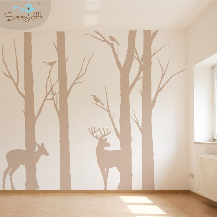 deer sillouette wall decal | Deer in the Forest Wall Art | SissyLittle.com. cute for the baby room :)