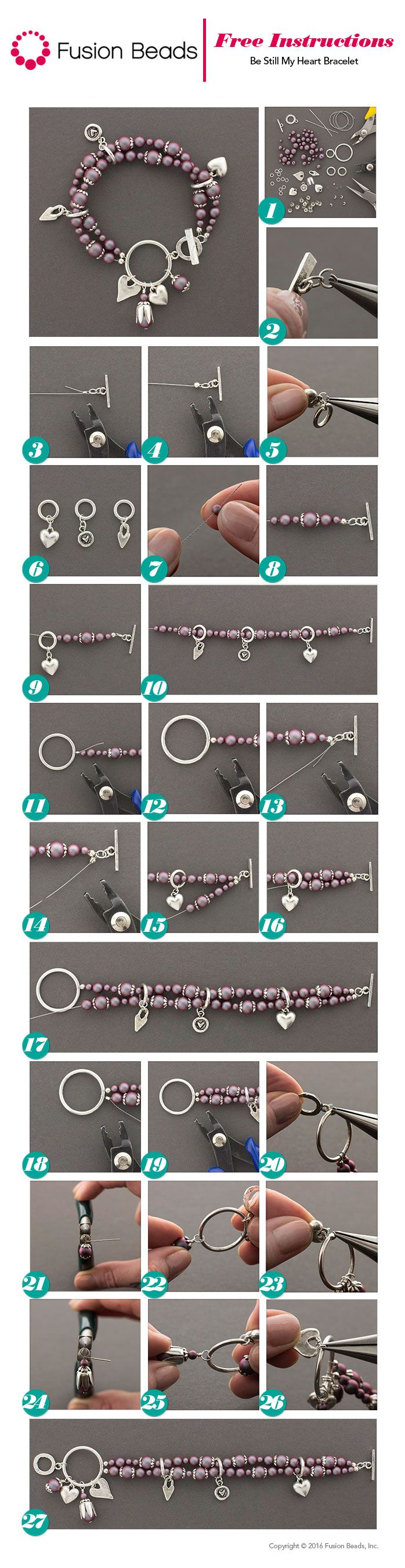 Use Swarovski Pearls and Nunn Charms to make our Be Still My Heart Bracelet. FusionBeads.com