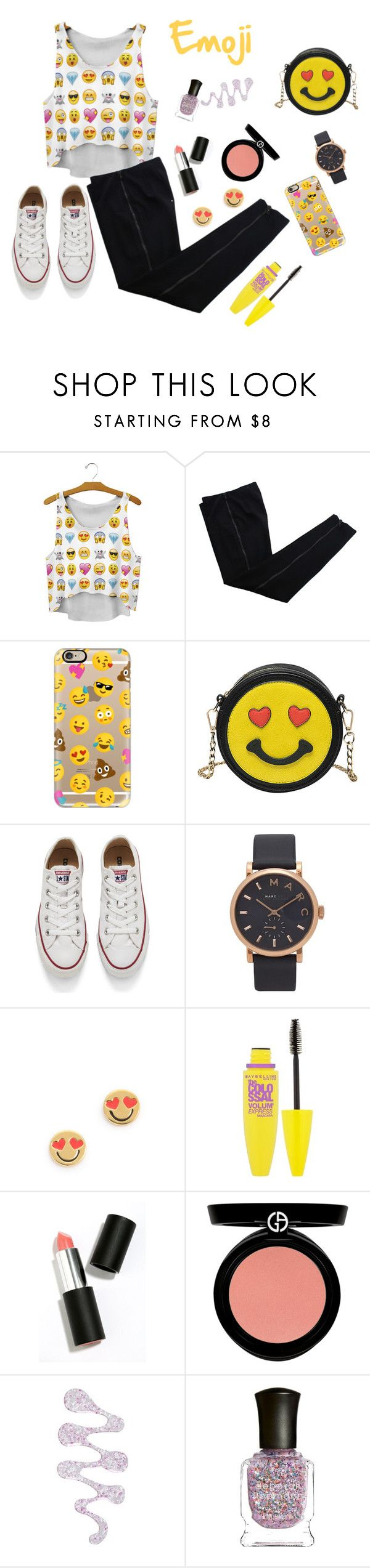 """Emoji"" by victoriafiocco ❤ liked on Polyvore featuring COSTUME NATIONAL, Casetify, Melie Bianco, Converse, Marc Jacobs, Kate Spade, Maybelline, Sigma Beauty, Armani Beauty and Nails Inc."