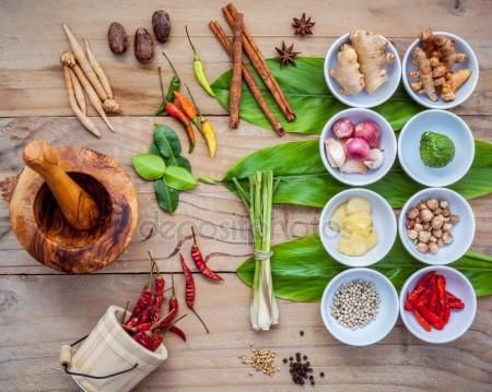 Download - Various of thai food cooking ingredients for spice red curry pas — Stock Image #136572486