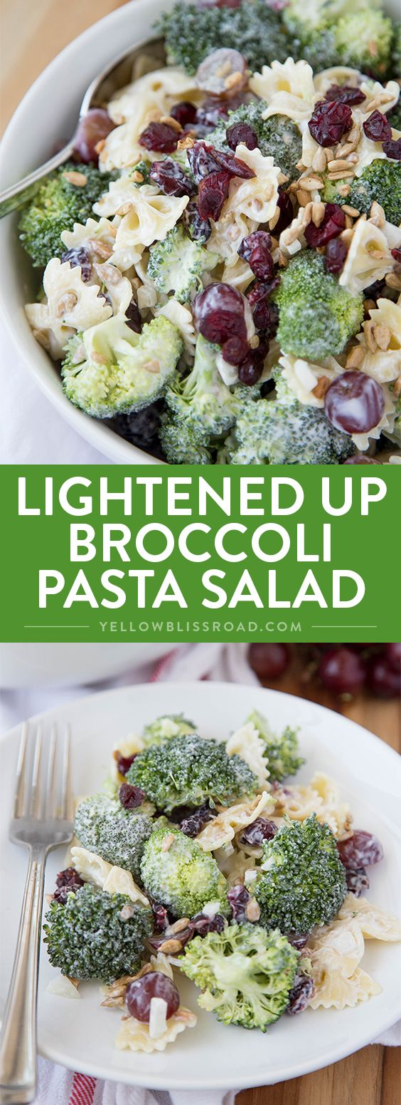 Lightened Up Creamy Broccoli & Grape Pasta Salad is a Classic Broccoli Salad lightened up with Greek Yogurt and sweetened with honey…